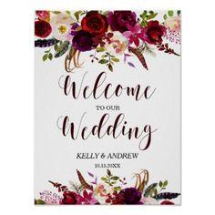 Burgundy Marsala Watercolor Floral Welcome Wedding Poster - wedding decor marriage design diy cyo party idea