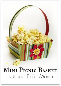 Create a fun mini Paper Picnic Basket that comes with a free printable template! Fill it with popcorn or flowers from the garden. Works as cute favor bags too Holiday Crafts For Kids, Craft Projects For Kids, Crafts For Kids To Make, Craft Ideas, Kids Crafts, Printable Activities For Kids, Printable Crafts, Free Printable, Summer Activities