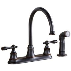At Lowe's--Looks high end but it's under $100  (AquaSource Oil-Rubbed Bronze 2-Handle High-Arc Kitchen Faucet with Side Spray)