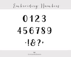 Orchid Script Numbers Modern Calligraphy 1 Inch Brush Font Embroidery