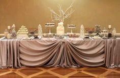 Dessert Table by Candy by Katie. Love the table draping on this Buffet Set Up, Sweet Buffet, Party Buffet, Wedding Decorations, Table Decorations, Wedding Ideas, Food Displays, Candy Table, Cocktail Tables