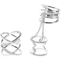 Charlotte Russe Caged Rhinestone & Chain Rings - 2 Pack ($6) ❤ liked on Polyvore featuring jewelry, rings, silver, rhinestone jewelry, layered rings, stackable knuckle rings, knuckle rings and druzy jewelry