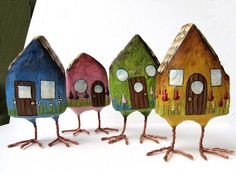 Art Sculpture - Mobile Home - Chubby House with Legs - Paper Mache