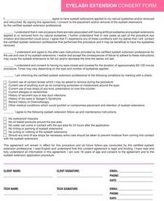 A simple eyelash extension consent form for your use.. #spa #salon ...
