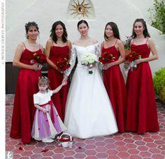 Apple red bridesmaids from David's Bridal