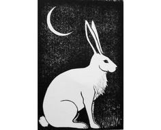 Hare and Moon Original Linocut Print. Linocut hand pulled print image inches paper size edition: 100 print will be numbered and signed by artist bunny rabbit. Rabbit Tattoos, Bunny Tattoos, Animal Art Projects, Rabbit Art, Bunny Rabbit, Bunny Art, Linocut Prints, Animal Tattoos, Art Lessons