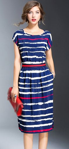 Casual O-Neck Short Sleeve Striped Skater Dress