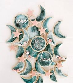 Girl First Birthday, 2nd Birthday Parties, Baby Birthday, Birthday Ideas, 1st Birthday Cakes, Birthday Nails, Moon Cookies, Star Sugar Cookies, Baby Cookies