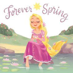 """""""Forever Spring"""" illustration of Rapunzel from Disney's Tangled Disney Rapunzel, Princess Rapunzel, Tangled Rapunzel, Arte Disney, Disney Girls, Disney Love, Disney Magic, Disney Pixar, Disney Characters"""