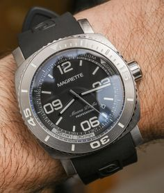 Ariel Adams does a review of the Magrette Moana Pacific Professional diver. With a 44mm wide brushed steel case, 500m of water resistance, an automatic helium release valve and more.