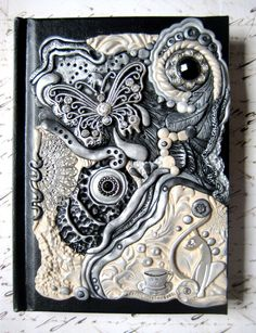♥♥Classy Cats and Coffee Polymer Clay Art Journal by ~RoyalKitness