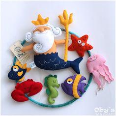 """Мобильный ребенка - детская кроватка мобильных пользовательских мобильных - в море - Посейдон """"Систар"""" морской конек Медуза, рыбы, Краб - войлок ручной работы"""
