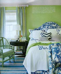 Guest bedroom...love the blue and white chinoiserie, but I might swap out the green walls for another color