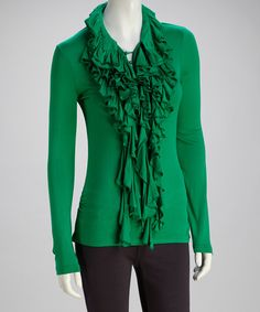 Take a look at this Jade Ruffle Long-Sleeve Top on zulily today!