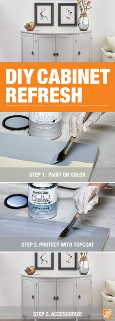 Transform your cabinet into a stunning focal point with help from Rust-Oleum Chalked Ultra Matte Paint and this how-to. This paint provides a smooth finish and makes it easy to give your cabinets, dressers, tables or any other furniture a whole new look. Paint Furniture, Furniture Makeover, Furniture Depot, Furniture Removal, Up House, Town House, Home Repairs, Diy Cabinets, Do It Yourself Home