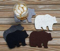 Papa Bear Wool Felt Drink Coasters Father's Day Gift Man