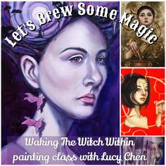 * Registration is now open! Lifetime Access **** Limited spots available***Let's Brew Some Magic or Waking the Witch WithinPainting class with Lucy ChenClassroom opens October 26 Pr… Witch Powers, Grisaille, Using Acrylic Paint, Canvas Board, Old Master, Your Paintings, Take Care Of Yourself, Make It Simple, Brewing