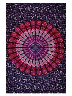 Indian Mandala Tapestry Indian Hippie Hippy Wall Hanging Bohemian Queen Wall Hanging Bedspread Beach Tapestry (Purple)