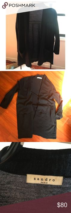 100% merino wool SANDRO light Cardigan Size 1. Excellent condition! Dark blue beautiful and comfortable! Sandro Sweaters Cardigans