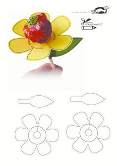 (one word on each petal) Use pattern to cut flower and leaf. Attach sucker to flower and leaf to flower. (Add Reunion Group Name, city & State to the leaf) printables for kids This Pin was discovered by Haz Valentines Bricolage, Valentine Crafts, Easter Crafts, Anniversaire Candy Land, Diy And Crafts, Crafts For Kids, Marianne Design, School Gifts, Flower Patterns