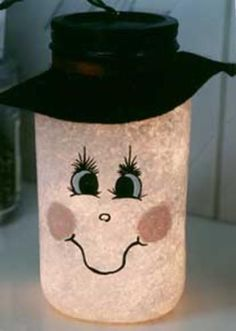 DIY - Mason Jar Snowman A Glo Lamp Light