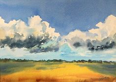 Summer clouds Watercolor painting by artist Giulia Gatti Watercolor And Ink, Watercolor Paintings, Watercolors, Clouds, Landscape, Gallery, Drawings, Artist, Summer