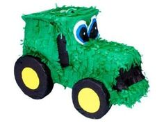 John Deere themed tractor inspired pinata.  See more John Deere birthday party ideas at www.one-stop-party-ideas.com
