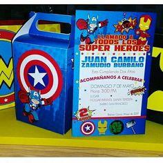 Tarjetas cumpleaños + cajas personalizadas super héroes!! Trabajo con amor