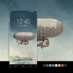 Video Lock Screen, Samsung Galaxy Wallpaper, Zeppelin, S9 Edge, Badge, Steampunk, Clouds, Sky, Edge Design