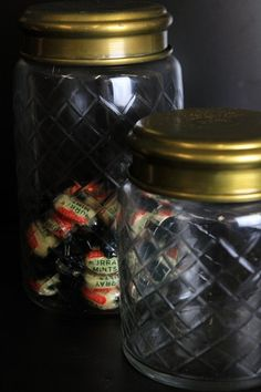 Etched Glass Storage Jar with Pretty Brass Lid - 2 sizes available - Kitchen Storage - Kitchen