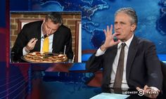 Watch Jon Stewart Freak Out Over Bill de Blasio Eating Pizza with a Fork