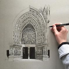 "Phoebe Atkey en Instagram: ""Spent 5 hours working on Notre Dame this morning, and I still have a long way to go... #art #drawing #pen #sketch #illustration…"""