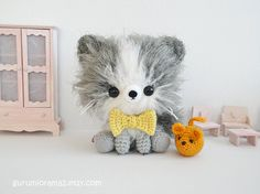 kawaii Kitty Cat kitten amigurumi gray fuzzy collectibles and mouse