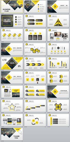 28+ Best yellow lowpoly business PowerPoint template
