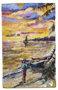 Jamaican Coastal Scene - Vintage Fine Art Original Oil Painting by Errol Allen