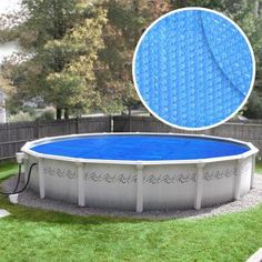 The Extra Heavy-Duty Space Age Diamond Round Blue/Silver Solar Cover Pool Blanket warms up your pool water by over Made of polyethylene material, this solar cover floats bubble side down Pool Cover Pump, Solar Pool Cover, Pool Covers, Above Ground Swimming Pools, In Ground Pools, Solar Blanket For Pool, Swimming Pool Stores, Raised Pools, Outdoor Water Activities