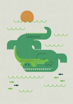 ARTFINDER: Crocodile and Child by Gleb Toropov - This retro Crocodile and Child print is one of a series of animal images. These prints will bring warmth and fun to any room. Bold colours and simple shapes ...