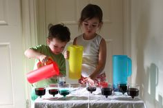 color mixing drinks for rainbow theme