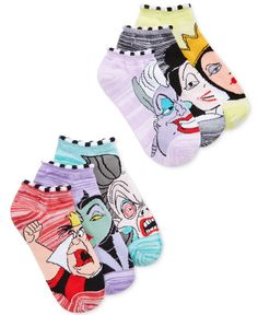 Soft, comfy and low-cut are just some of the virtues of this six-pack of villainous graphic socks from Disney. | Polyester/spandex | Machine washable | Imported | Contains 6 pairs | Assorted designs |