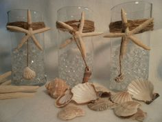 Nautical Wedding  Glass Vases Beach Decor Nautical Wedding Beach House Set of  (3). $20.00, via Etsy.