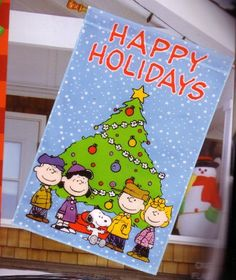 Large Snoopy Peanuts Happy Holidays Christmas Garden Flag 38in X 25in -- This is an Amazon Affiliate link. Click image for more details.