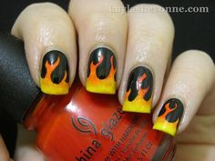 Hunger games, Girl on fire  nail art by Kayla Shevonne.
