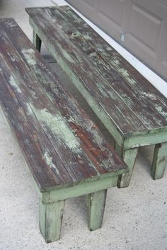 Farmhouse Table and Benches - this post explains how this awesome rustic paint finish was achieved simply by sanding areas of the old finish, then staining - Weathered Pieces: