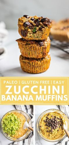 Healthy Zucchini banana muffins | These paleo zucchini banana muffins are loaded with healthy nutrients and taste too good to be true. Soft and fluffy, sweetened only with bananas, sweet potatoes and a touch of decadent chocolate chips. They are paleo, gluten free, dairy free and can be made low carb. Perfect for the whole family to enjoy. | #zucchinimuffins #bananamuffins #gluteenfreedessert #paleodessert Paleo Dessert, Healthy Dessert Recipes, Real Food Recipes, Healthy Snacks, Gluten Free Muffins, Healthy Muffins, Paleo Baking, Gluten Free Baking, Dairy Free Recipes