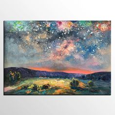 Large Art, Night Landscape, Hand Painting Art, Sky Painting, Oil Painting Landscape, Abstract Painting, Mountain Landscape Painting, Custom Oil Painting, Night Sky Painting