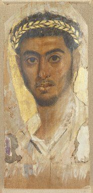 Fayum Portrait of a Man, ca. 120-130 C.E. Wood, encaustic, gilding, 17 1/4 x 7 3/4 x 1/16 in. (43.8 x 19.7 x 0.2 cm). Brooklyn Museum, Charles Edwin Wilbour Fund, 40.386