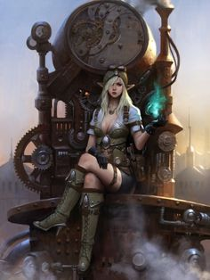 Steampunk elven woman-wizard