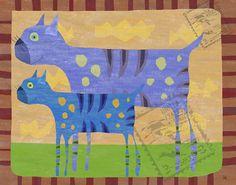Cat Stamps Canvas Art