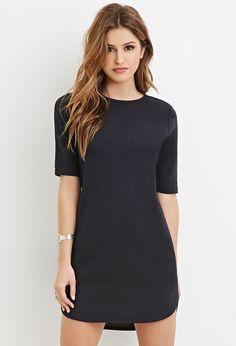 Topstitch-Striped Shift Dress - Shop All - 2000165110 - Forever 21 EU English
