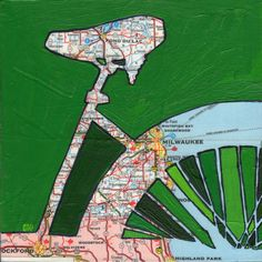 Bike Milwaukee - bike art, bicycle art featuring a vintage Wisconsin map on Etsy, $17.00